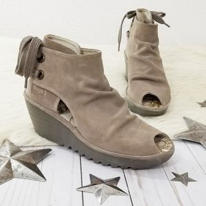 FLY London Yama wedge ankle boots Taupe gray suede